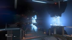Alien Isolation creepy reactor core (seems to be floating, dark room, raining though it is a closed room --> unsettling)