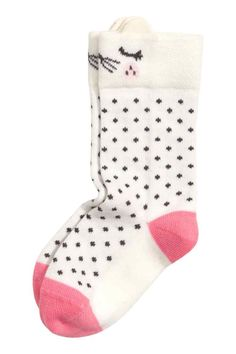 Jacquard-knit knee socks: Jacquard-knit knee socks in a soft cotton blend.