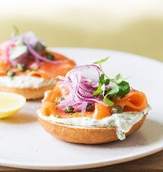 Salmon Bagels with Zingy Herb Cream