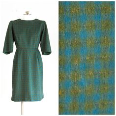 Blue and green plaid felt sheath dress from the 1960s by TimeTravelFashions on Etsy