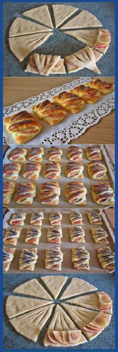 Love the idea of making a simple snack look elegant. Pastry Recipes, Dessert Recipes, Cooking Recipes, Pastry Design, Bread Shaping, Bread And Pastries, Easy Snacks, Creative Food, Finger Foods