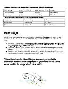 Transitional Phrases Helpful Handout by KBoomKBoggan | TpT