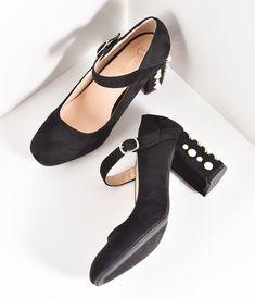 9ec601f0d8b Pin Up Shoes- Heels  amp  Flats Black Suede Mary Jane Pearl Block Pumps  Shoes