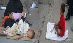 """""""المرأة والأسرة """" تناشد بالحد من """"استغلال الرضع للتسول """" في العراق: استمرت أم شيماء بعدما أعياها الفقر والعوز في ارتداء حجابها الأسود حاملة…"""