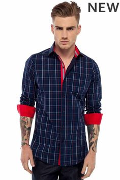 LIAM Navy check with red http://www.botagi.com.au/collections/mens-shirts/products/boaafs4     #shirts #mensfashion #fashion