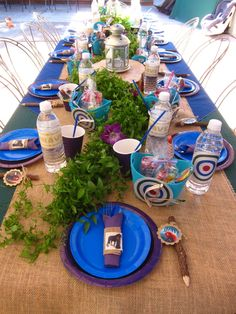 fun tablescape - I like the greenery