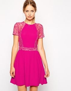 {Skater Dress with Lace Sleeves & Overlay in hot cerise pink - under $75}