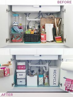 Organizing Under the Kitchen Sink - stacking drawers for dish cloths and towels, plus bag on top to collect linens ready for laundry.