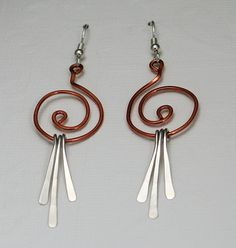 Copper and sterling dangles copper and silver by CapturedIllusions, $43.00