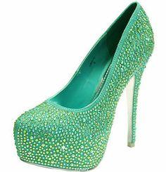 New women's shoes evening stilettos blink rhinestones prom wedding mint green