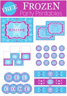 Free printables for a Frozen girl birthday party! We've got a printable welcome sign, cupcake toppers, water bottle labels, a banner and blank tented cards. | CatchMyParty.com
