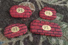 Harry Potter Series Platform 9 3/4 Rock Painting Find us on Facebook at Northeast Ohio Rocks #northeastohiorocks #harrypotter