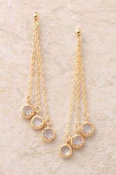 Triple Dangling Stones Earrings