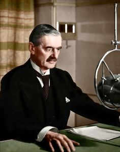 """British Prime Minister Neville Chamberlain. A broadcast to the nation announcing that a state of war existed between Britain and Germany. September 3rd 1939. [[MORE]] """"This morning the British..."""