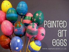Are you making any home-made Easter decorations this year? These painted eggs are a great kids project - each unique, great process art and so joyful in a big mix-and-match bunch.