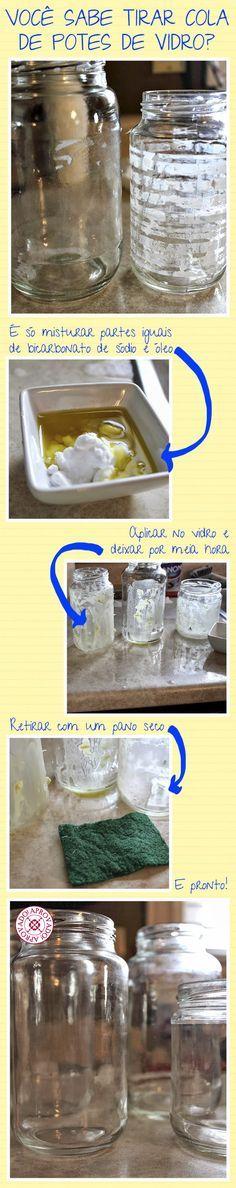 Como tirar a cola de etiquetas em vidros de conserva.