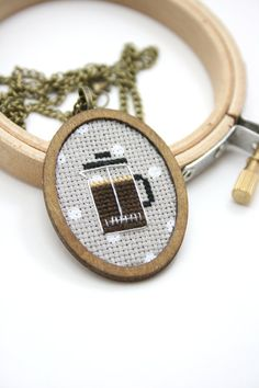 Coffee cross stitch necklace  French press cross by otterlydesign