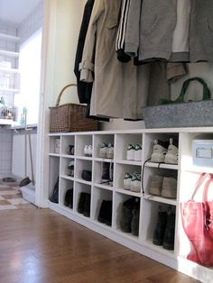 This would be great built into a closet for your shoe storage. Could be built underneath your kitchen pass through window for storage as well. Stick in some baskets to hold gloves etc.