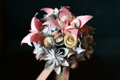 A very nice crafted with love and Paper Flowers Wedding, Pink Turquoise, Seashells, Seaside, Succulents, Bouquet, Diy Crafts, Decorations, Pearls