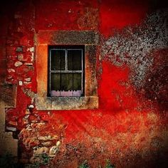 Colours of Roussillon, France. - - Colours of Roussillon, France. Old Windows, Windows And Doors, Exterior Windows, Red Tiles, Through The Window, Old Doors, Painted Doors, Wabi Sabi, Belle Photo