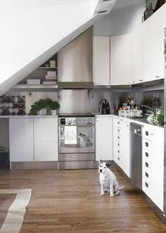 Design Ideas For Any Room With Sloped Ceilings. Attic ApartmentApartment  TherapyApartment IdeasKitchen Under StairsFlat ...