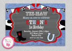 Cowboy Birthday Invitation   Cowboy 1st by The Trendy Butterfly