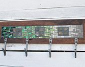 Mosaic Coat Rack, Wall Coat Rack, Entryway Coat Hooks, Hand-forged Hooks, Reclaimed Wood Frame
