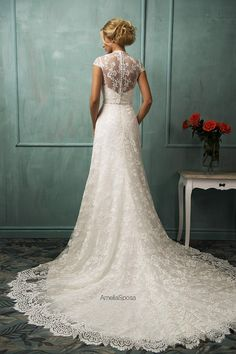 2015 Amelia Sposa Wedding Dresses A Line Lace Vintage Bridal Gowns with V Neck And Cap Sleeves And Chapel Train Sheer Back Covered Buttons, $168.14   DHgate.com