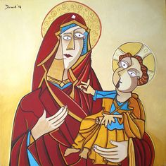 Virgen con niño. Óleo sobre lienzo. Tamaño 50x50 cms. Año 2014