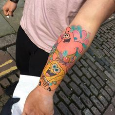 Spongebob and Patrick Star tattoo on the left inner Weird Tattoos, Cartoon Tattoos, Girly Tattoos, Star Tattoos, Mini Tattoos, Body Art Tattoos, Tattoos For Guys, Tatoos, Sloth Tattoo