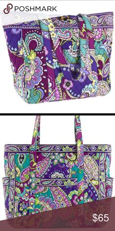 Vera Bradley Large Tote Dual shoulder straps. Fashioned in shoulder strap, quilted details, exterior pocket offers enhanced organization. Handle Drop: 11 1⁄2 in. Tote is in mint condition and has never been used. Normal retail is $98 Vera Bradley Bags Totes