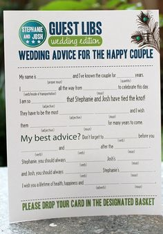 """Mad Lib"" Wedding Advice Cards 