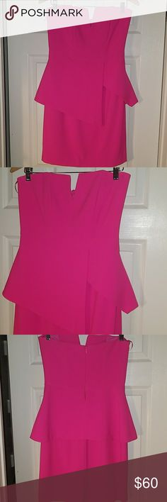 """Hot pink peplum style party dress Wore this showstopper only once because it got so much attention. Super flattering, like new. Color is hot """"barbie"""" pink...great for weddings, reunions, all things summer. Pairs great with black, nude or metallic pumps. Finders Keepers Dresses Mini"""