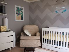 Gray-on-gray #chevron = super-chic #nursery!  #gray