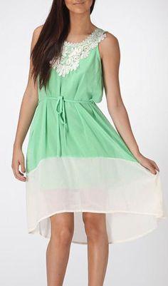 Mint Lace Appliqué Chiffon Dress