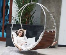 This hanging hammock chair provides the gentle swaying motion of a hammock with the stability of a lounge chair to provide unmatched comfort. It sports a study spherical stainless steel frame that can be hung either indoors or outdoors. Daybed Canopy, Diy Canopy, Fabric Canopy, Canopy Tent, Ikea Canopy, Window Canopy, Wooden Canopy, Canopy Lights, Metal Yard Art