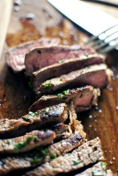 Marinated London Broil with Herb Butter