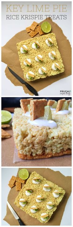 Key Lime Pie Rice Krispie Treats on Frugal Coupon Living. Key Lime pie all whirled up in a Rice Krispie Treat, Delish! The tangy lime mellowed by the sweet mallows then, smash it all down on a graham cracker crust and add a smidge of marshmallow crème.