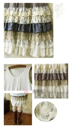 Basic tank dress with layers of lace.  Absolute cuteness!
