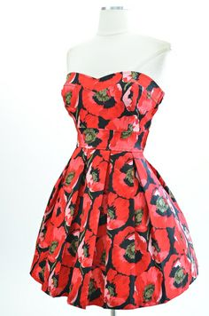 50s Style Red Poppy Print Bouquet of Style Strapless Pinup Sun Dress | eBay