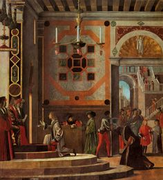 Vittore Carpaccio, Le départ des ambassadeurs anglais, cycle de sainte Ursule, Gallerie dell'Accademia, Venise, 1487-1498. (collier de perles de corail suspendu au chandelier, au centre de la scène)