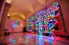Nam June Paik's Electronic Superhighway: Continental U. All Of The Lights, Can Lights, Kids Homework Room, Nam June Paik, Jean Tinguely, Art Cart, Fluxus, Public Art, Light Up