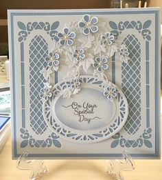 Charming!!! Baptism Cards, Tattered Lace Cards, Spellbinders Cards, Window Cards, Shaped Cards, Square Card, Flower Cards, Greeting Cards Handmade, Homemade Cards