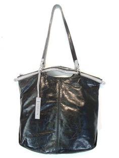 NICOLI Black Grey Designer Italian Leather Handbag Purse Tote Bag