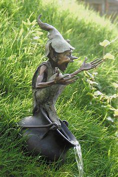 """Cauldron Fountain"" - bronze sculpture by David Goode; Outdoor Statues, Garden Statues, Elves And Fairies, Fairy Art, Garden Ornaments, Magical Creatures, Pixies, Faeries, Sculpture Art"