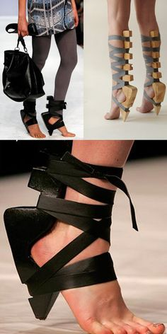 Maki Aminaka (Löfvander) and Marcus Wilmont (Aminaka Wilmont) introduced their sole-less shoes in London during the 2008 London Fashion Week.