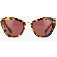 Miu Miu 10NS ($450) ❤ liked on Polyvore featuring accessories, eyewear, sunglasses, cat eye sunglasses, red cat eye glasses, tortoiseshell sunglasses, velvet sunglasses and red sunglasses