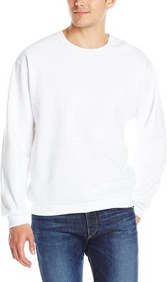 Jerzees Men's Adult Crew Sweatshirt X Sizes, White, XX-Large 50 percent cotton and 50 percent polyester Soft, mid- weight fleece Pill resistant Reinforced seams for durability Rib trim at neck, cuff and hem Tie Dye Crumple, Crew Sweatshirts, Hoodies, Things To Buy, Stuff To Buy, Mens Fleece, Fashion Brands, Cotton, How To Wear