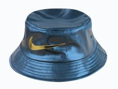 ba96ed9d921 Mens Nike Jumbo Nike Gold Metal Logo 2016 Sports Fashion Leather Material Fisherman  Bucket Hat - Blue Gold