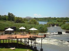 Book your stay at Sun River Kalahari Lodge in Upington, South Africa. South Africa, African, River, Sun, Outdoor Decor, Villa, Pretty, Home Decor, Courtyards